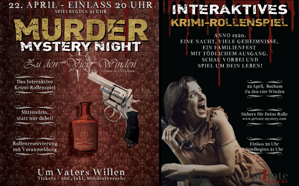 Eventflyer - Murder Mystery Night in Bochum - Um Vater Willen!